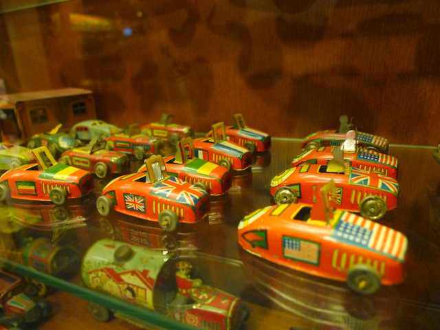 Display of classical tin toys from the 60's
