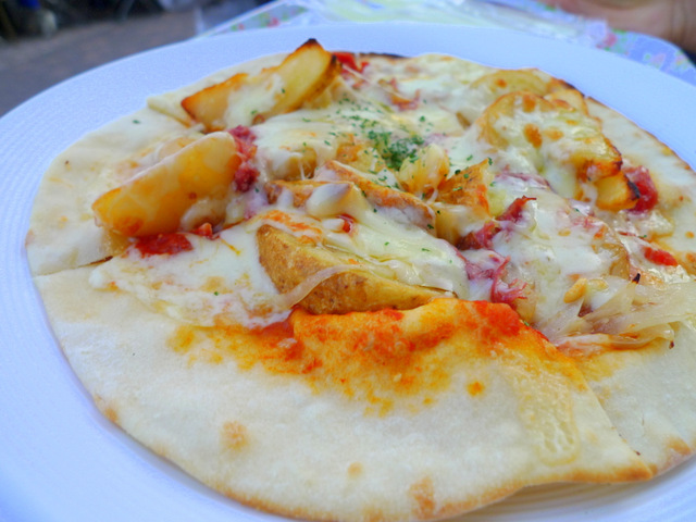 German Potato Pizza with Corned Beef