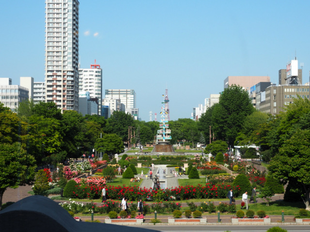 The view of the Rose Garden from Sapporo Shiryokan (Former Sapporo Court of Appeals)