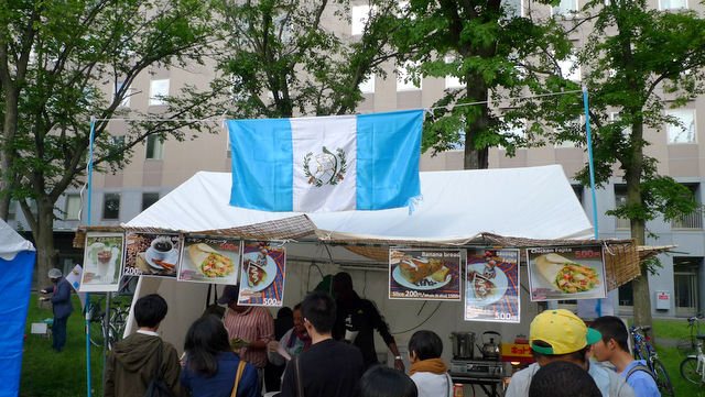 Food stand run by the students from Guatemala