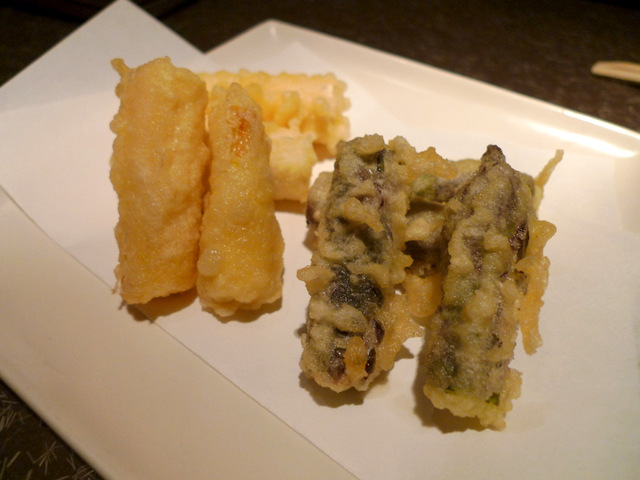 Tempura of White and Purple Asparagus