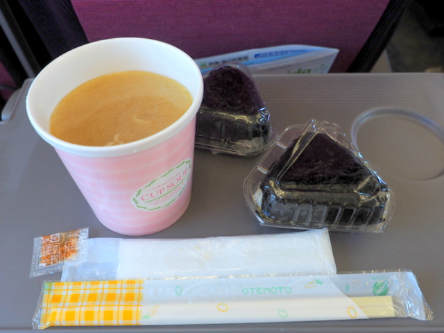 Butajiru-miso soup with pork and vegetables- and riceballs for Breakfast in the early train