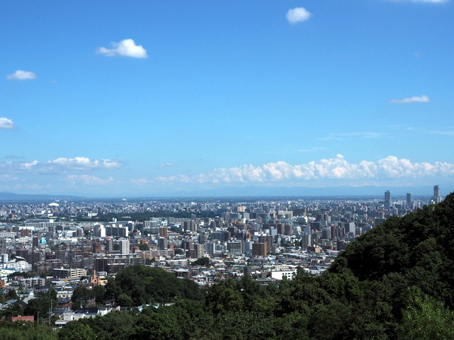 The view of city of Sapporo from the exit of the escalator
