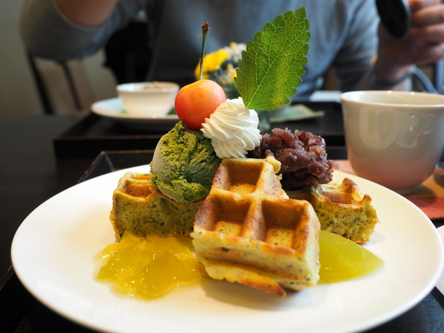Green tea waffle with sweet bean paste, green tea ice cream and green tea jelly