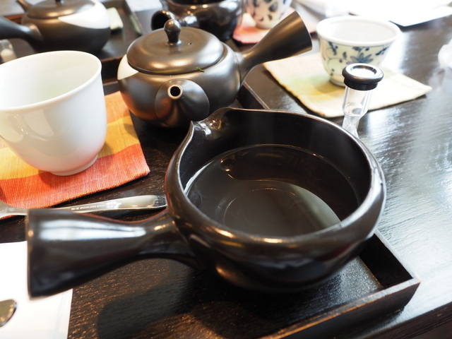 Hot water served to make Japanese tea