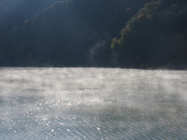Surface with steam mist of Katsurazawa lake
