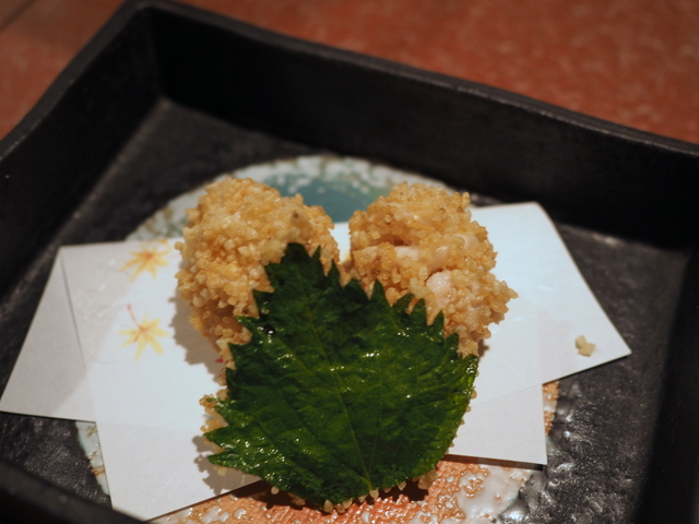 Deep fried dish: soft roe  and green perilla with brown rice