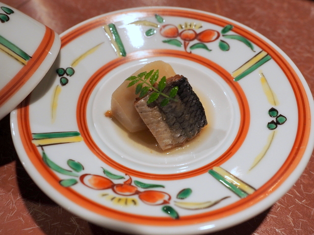 Kuchiyogoshi (Small dish): taro root and dried herring, Hokkaido style of Imobo in Kyoto