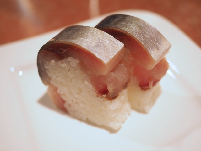 Rice dish: rod-shaped sushi topped with mackerel from Kamoenai-cho