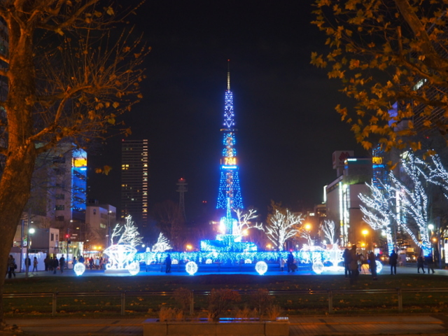 View of Sapporo White Illumination from Odori Park 5-chome