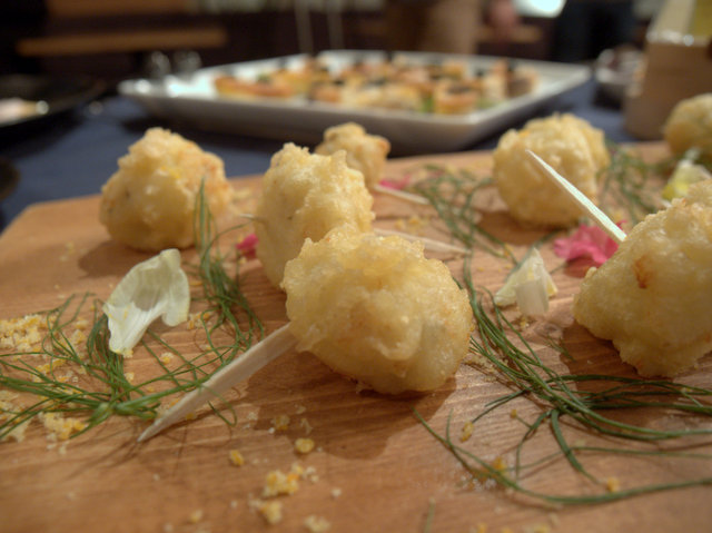 "Rice fritto with ""Kobayashi Farm Monogatar Handmade Blue Cheese"" and scallop seasoned with Orange salt"