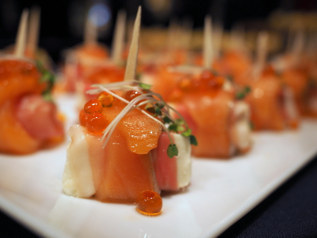 """Atelier de Fromage ADONAI Ricotta Cheese"" roll with Jamon Serrano and smoked salmon"