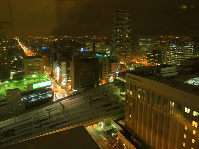 "Night view from the windows of the revolving restaurant ""Rondo"""