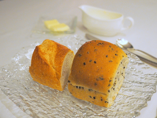 French bread and sesami bread with butter and yogurt