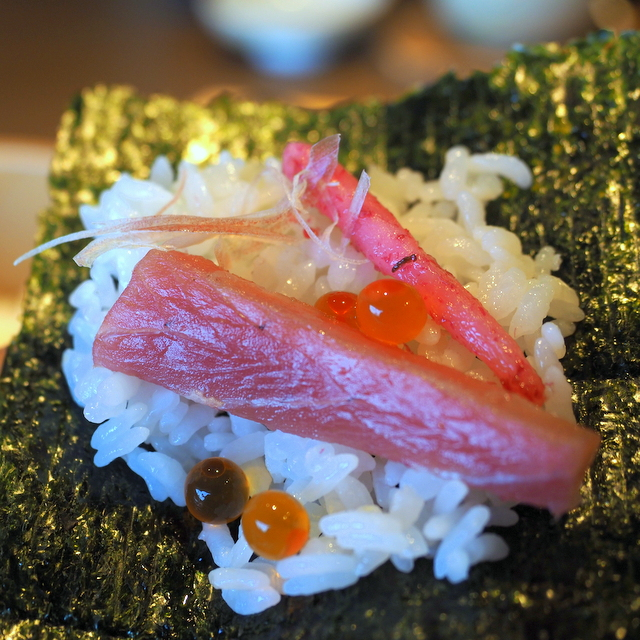 Tuna, birdpcl pickle, Japanese jinger and salmon's roe