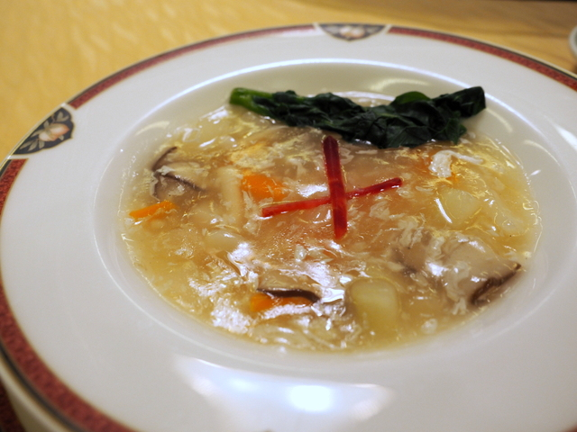 Warm soup with collagen from shark and vegetable