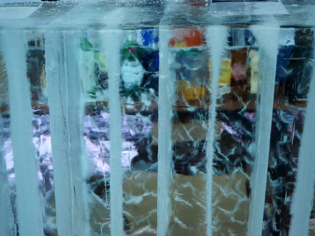 Transparent icy counter of the Ice Bar