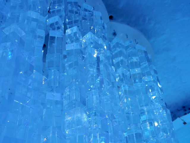 Chandelier made of ice in the Ice Bar