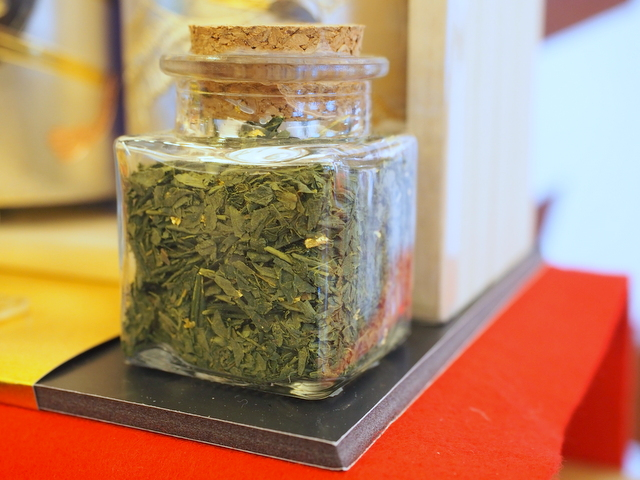 Green tea with edible gold leaf