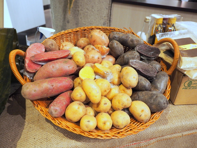 Vegetables from Hokkaido which are displayed for this event in the restaurant