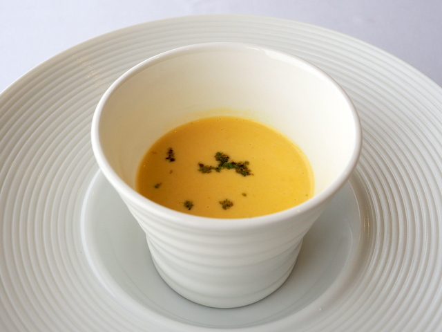 "Today's special vegetable soup, ""carrot and onion soup"""