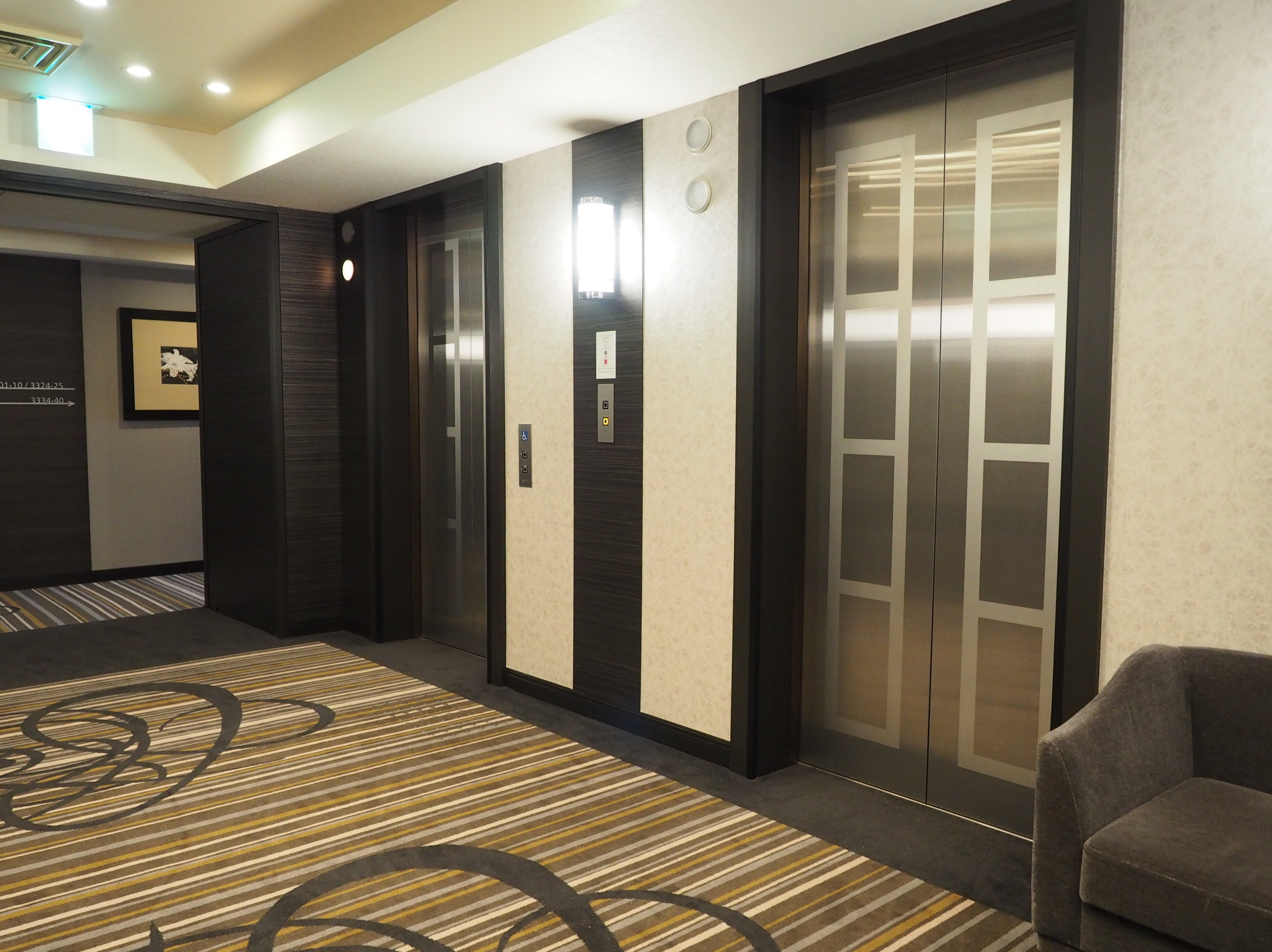 Elevator hall of the 33th floor with chic design, one of the executive floors