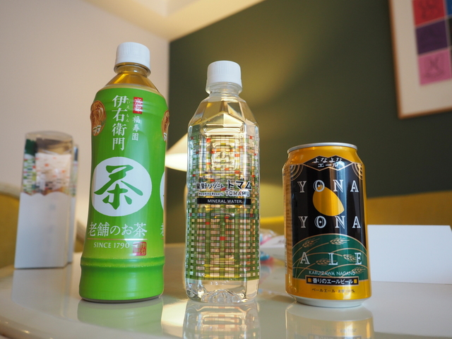 Drinks in the fridge and sweets from Hoshino Resorts Tomamu