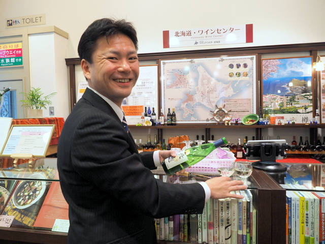 "Attendant for ""Yoichi Niki Wine Tour"" and Senior Sommelier, Mr. Abe"