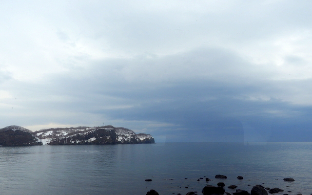 View of Japan Sea around Otaru through a bus window