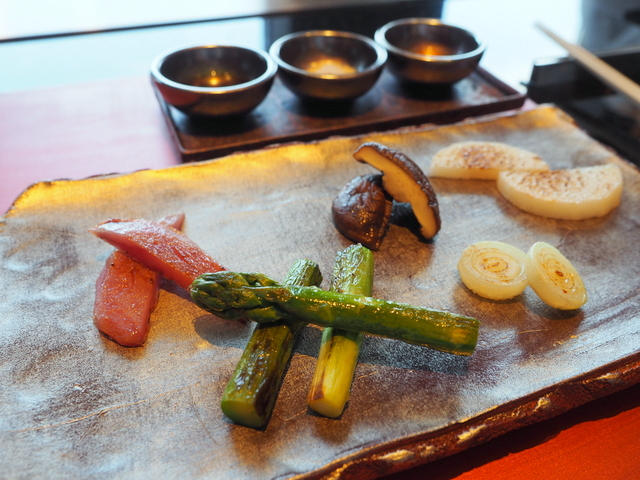 "Asparagus, small onion, potato ""Northern Ruby"", shiitake mushroom and Chinese yam with three kinds of seasonings"