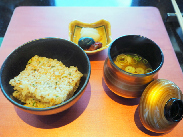 Garlic rice and red miso soup with Japanese pickles