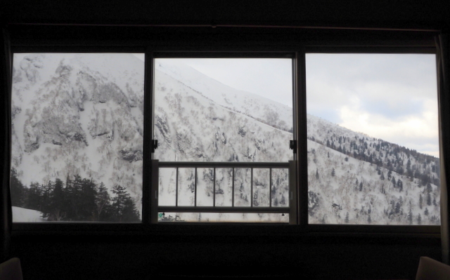 View with Mt. Furano from the window of a guest room