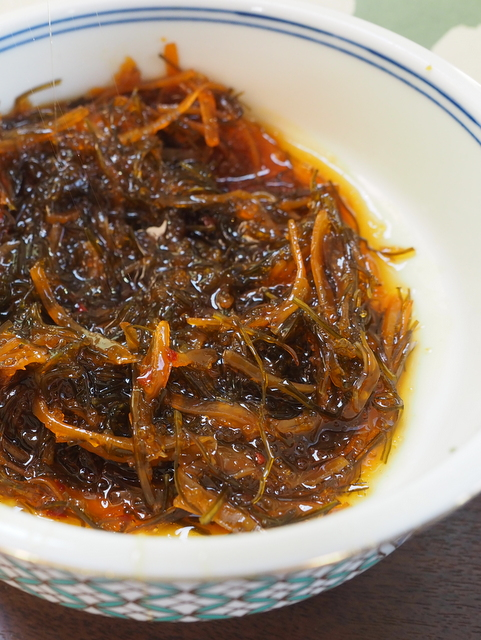 Matumae-duke which is dried squid, fish roe and seaweed marinated with soysauce