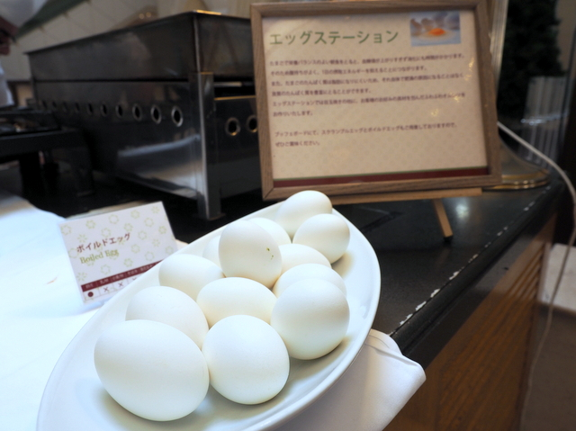 Boiled eggs at the egg station