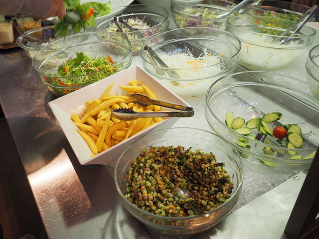 Salad bar with local fresh vegetables