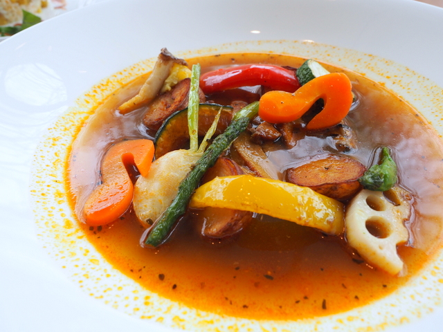 Monthly soup curry with pork from Hokkaido and various vegetables