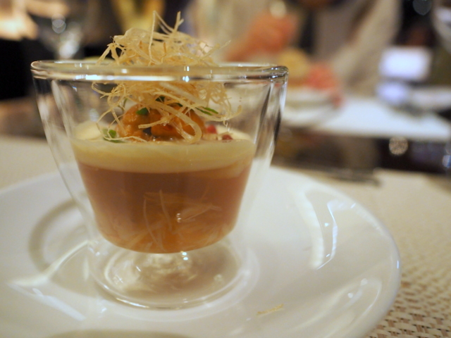 Jellied consomme with hair crab and sea-urchin-cream