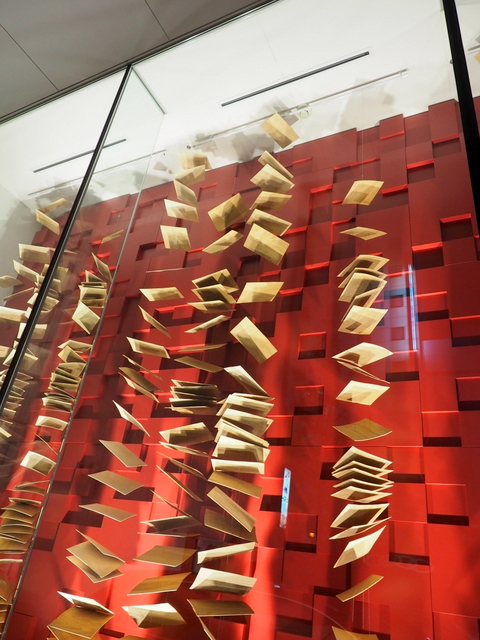Installation made of wood as show window displays