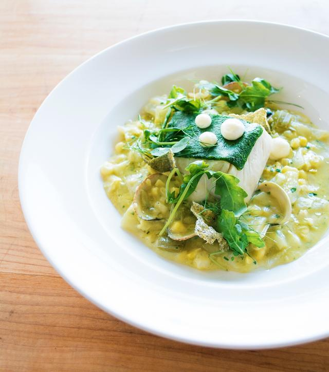 th_Slow Cooked Halibut - Spring chowder, clams, buttermilk, herbs, fish skin Chicharrón.jpg